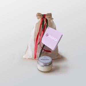 MiniBio di Ecomama, sachettino in cotone contenete una pasta dentifricia di Ben&Anna in vasetto di vetro da 30ml. Perfetto come regalino natalizio