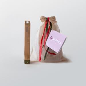 Minibio Ecomama, sacchettino in cotone contenete uno spazzolino in bamboo di bambaw