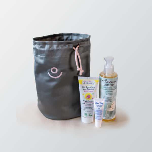 Set di biocosmesi di Ecomama. Per bimbi. con sacchetta in cotone organico handmade.