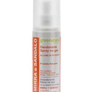 Deodorante spray no gas, profumato con oli essenziali di mirra e sandalo. Greenatural.ecomama