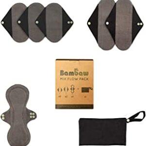 Bambaw kit misto di assorbenti lavabili + astuccio di bambaw. Ecomama